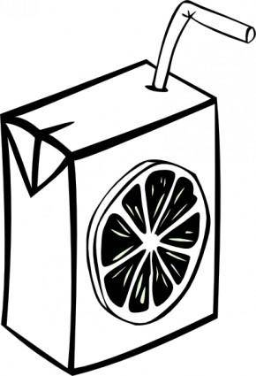 Orange Juice Box (b And W) clip art