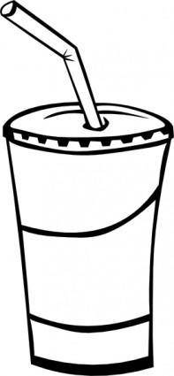 Soft Drink In A Cup (b And W) clip art