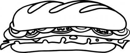 Sandwich_one_bw clip art