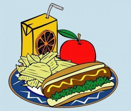 Hotdog Apple Juice Chips Mustard clip art