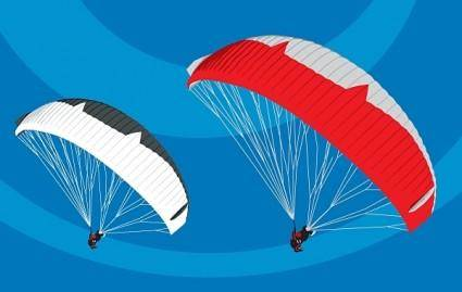 Tandem Paragliders in flight