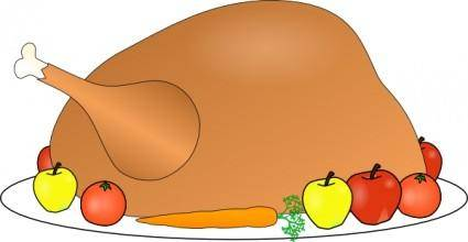 Turkey Platter 01 With Fruit And Vegitables clip art