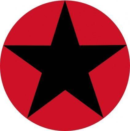 Roudel Black Star Red Circle clip art
