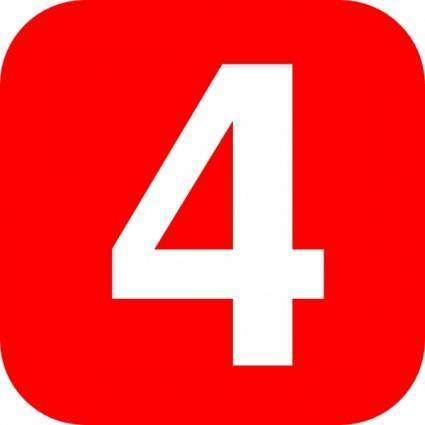 Red Rounded Square With Number 4 clip art
