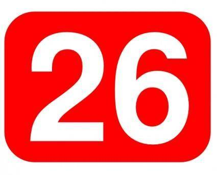 Red Rounded Rectangle With Number 26 clip art
