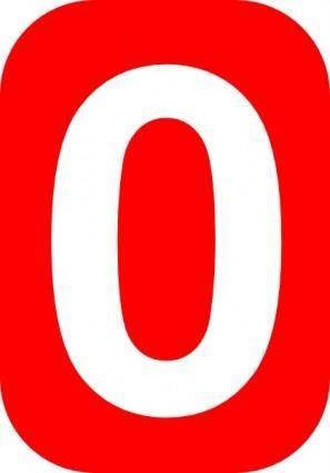 Red Rounded Rectangle With Number 0 clip art