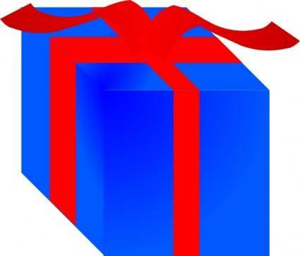 free vector Blue Gift Box Wrapped With Red Ribbon clip art