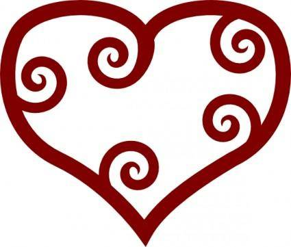 Valentine Red Maori Heart clip art
