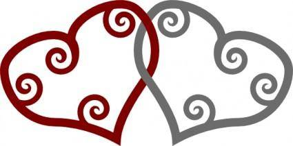 Red Silver Maori Hearts Interlinked clip art
