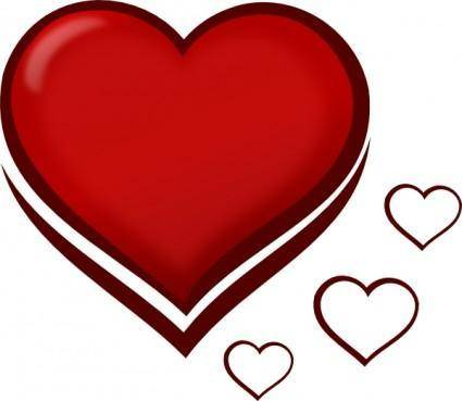 Red Stylised Heart With Smaller Hearts clip art