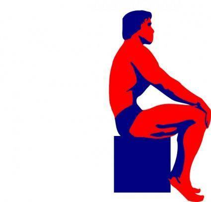 Sitting Body Builder clip art