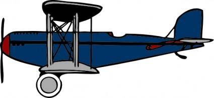 Red Blue Biplane clip art 113448