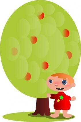 Red Fruit Tree With A Baby clip art