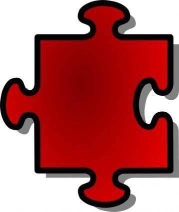 free vector Red Jigsaw Piece clip art