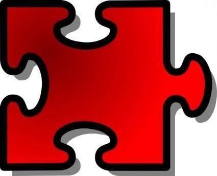 Red Jigsaw Piece clip art