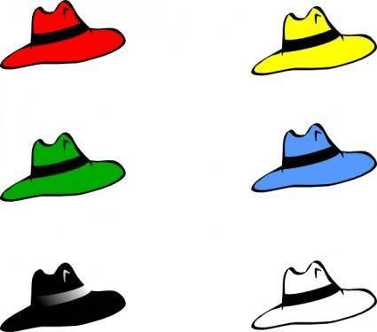 Slothing Men Six Hats clip art