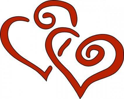 Red Curly Hearts clip art