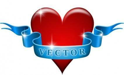 free vector Heart And Ribbon clip art