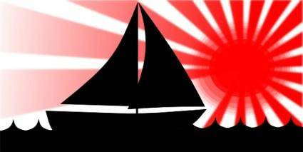 Joe M Sailboat Under Red Sun clip art