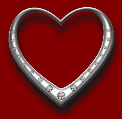 free vector Heart With Diamonds clip art