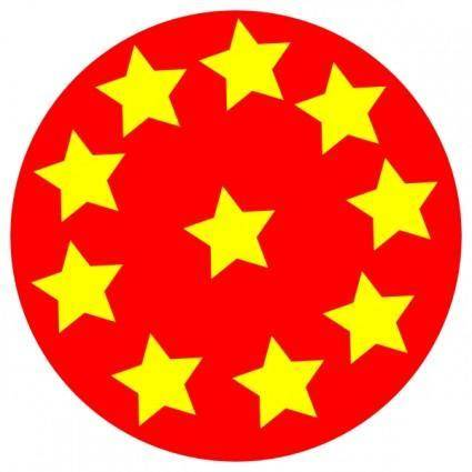 Red Circle With Stars clip art