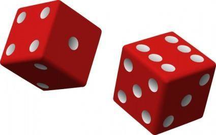 Two Red Dice clip art