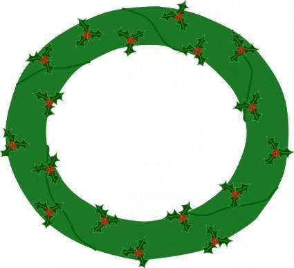 Wreath Of Evergreen, With Red Berries clip art
