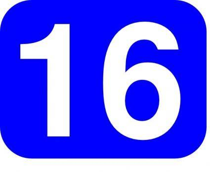 Blue Rounded Rectangle With Number 16 clip art