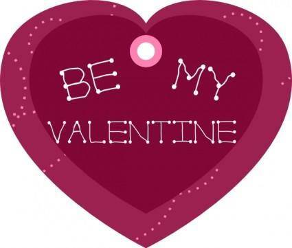 Be My Valentine Heart Shaped Gift Tag clip art