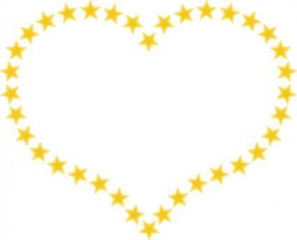Heart Shaped Border With Yellow Stars clip art