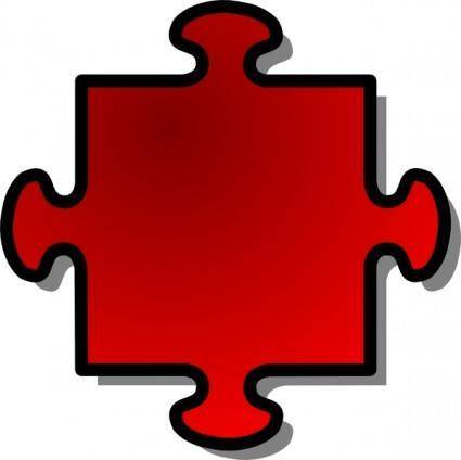 free vector Jigsaw Red clip art