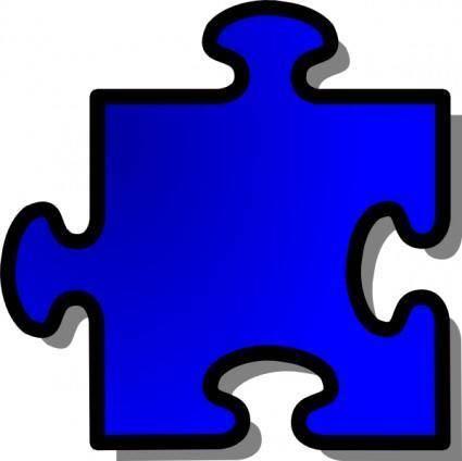 Jigsaw Blue Piece clip art
