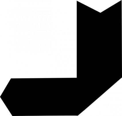 free vector Down Left Black Arrow clip art