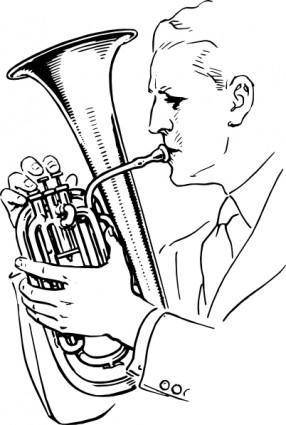 Man Playing Alto Horn clip art