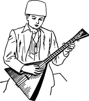Boy Playing Balalaika clip art