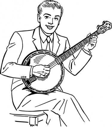 free vector Man Playing Banjo clip art