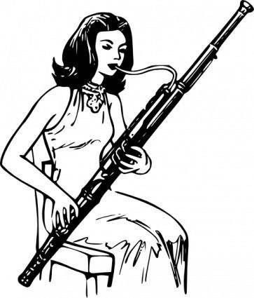 free vector Woman Playing Bassoon clip art