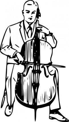 Man Playing Cello clip art