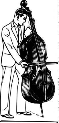 Man Playing Contrabass clip art