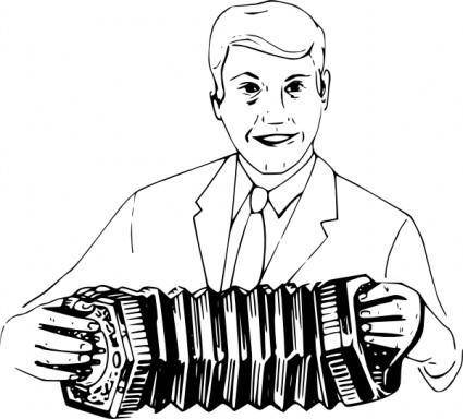 Man Playing Concertina clip art
