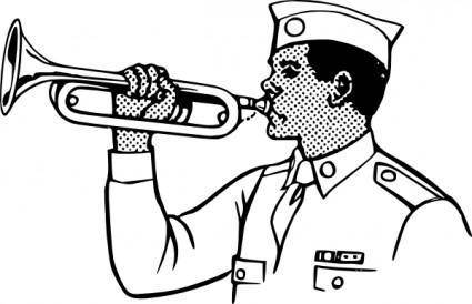 Young Man Playing On A Bugle clip art