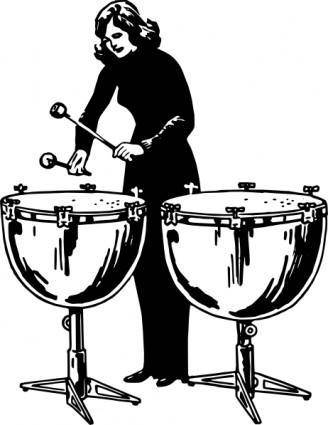 Woman Playing Kettledrums clip art