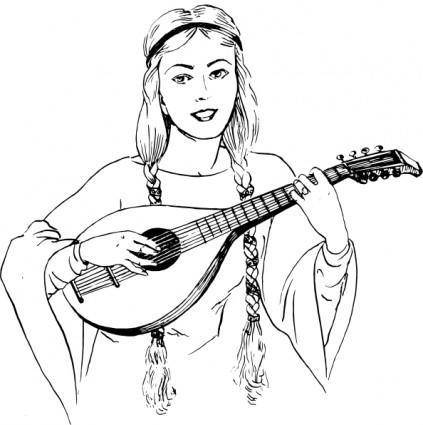 Woman Playing Lute clip art