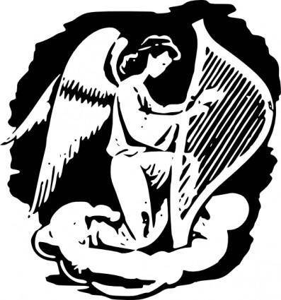 free vector Angel Playing Harp clip art