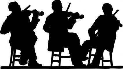 Fiddlers In Silhouette clip art