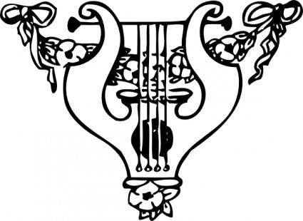 free vector Lyre And Garland clip art