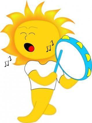 free vector Sun Playing Drum clip art