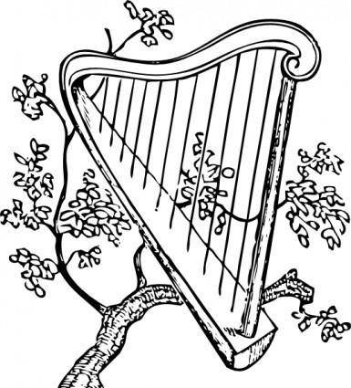 Harp And Branch clip art