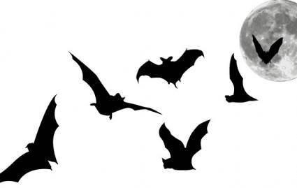 free vector Bats and Full Moon