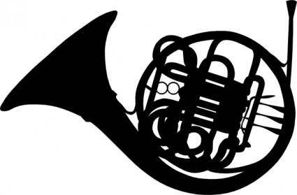 French Horn Silhouette clip art